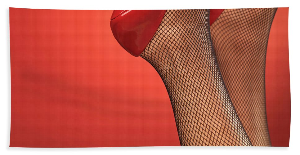 Footwear Beach Towel featuring the photograph Woman In Red High Heel Shoes by Oleksiy Maksymenko