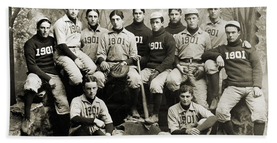 1901 Beach Towel featuring the photograph Yale Baseball Team, 1901 by Granger
