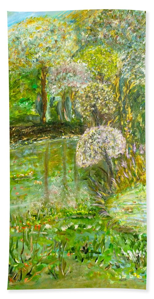Whimsical Landscape Beach Towel featuring the painting You Lush by Sara Credito