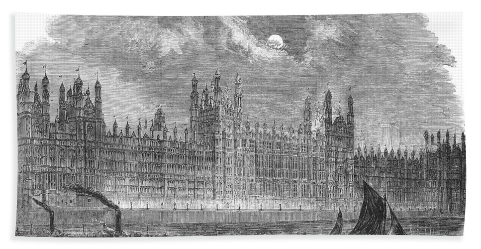 1852 Beach Towel featuring the photograph Great Britain: Parliament by Granger