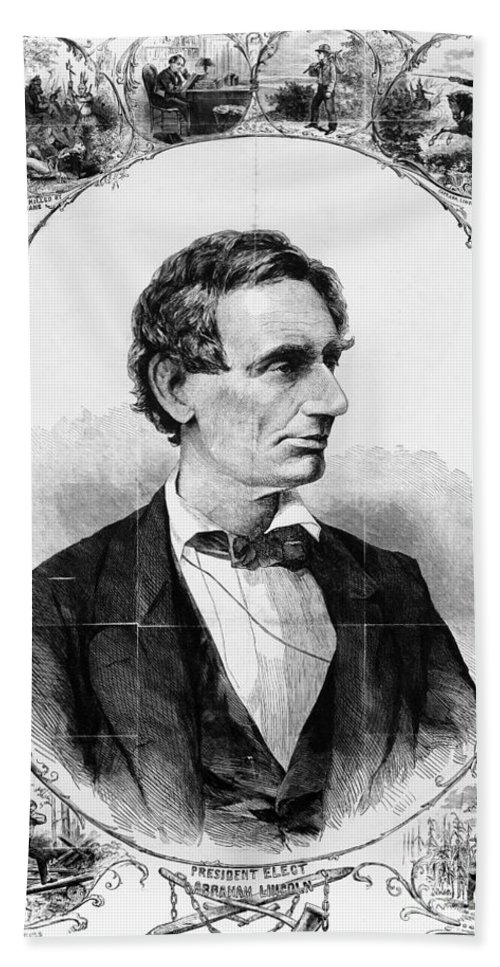 1860 Beach Towel featuring the photograph Abraham Lincoln by Granger