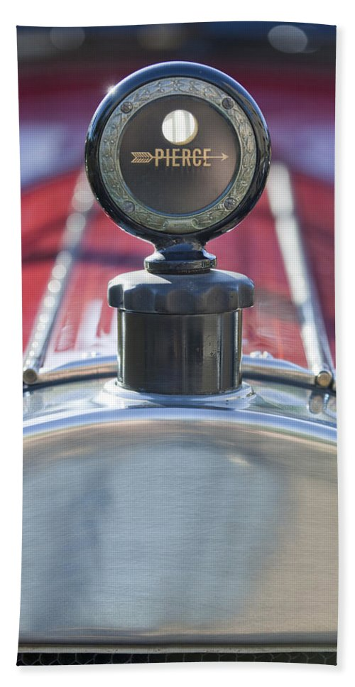 1919 Pierce-arrow Model 48 Dual Valve Roadster Beach Towel featuring the photograph 1919 Pierce-arrow Model 48 Dual Valve Roadster Hood Ornament by Jill Reger