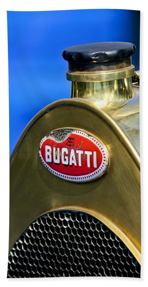 1920 Bugatti Type 13 Beach Towel featuring the photograph 1920 Bugatti Type 13 Grille Emblem by Jill Reger