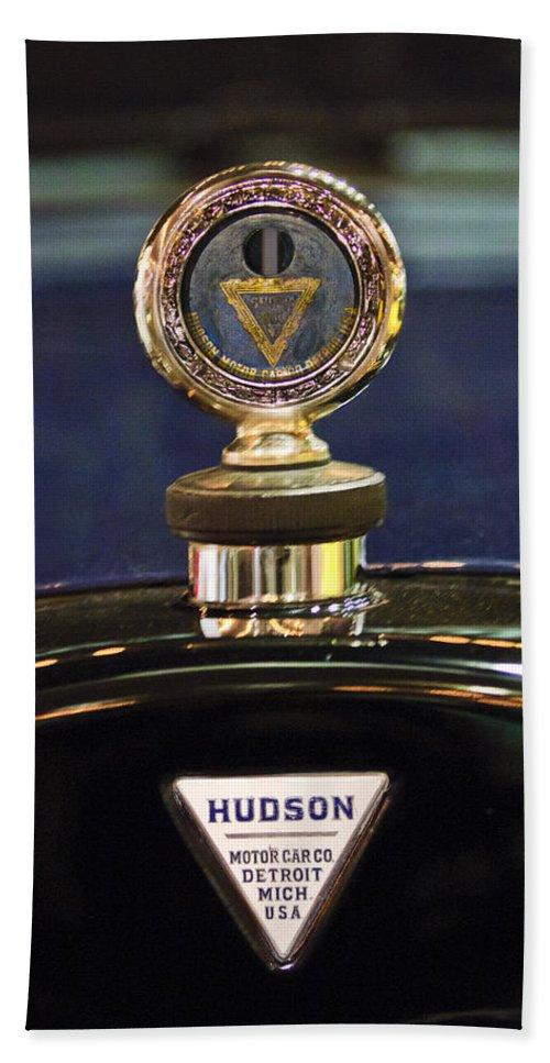 1920 Hudson Super 6 Touring Beach Towel featuring the photograph 1920 Hudson Super 6 Touring Hood Ornament by Jill Reger