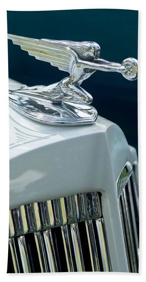 1935 Packard Sedan Beach Towel featuring the photograph 1935 Packard Sedan Hood Ornament by Jill Reger