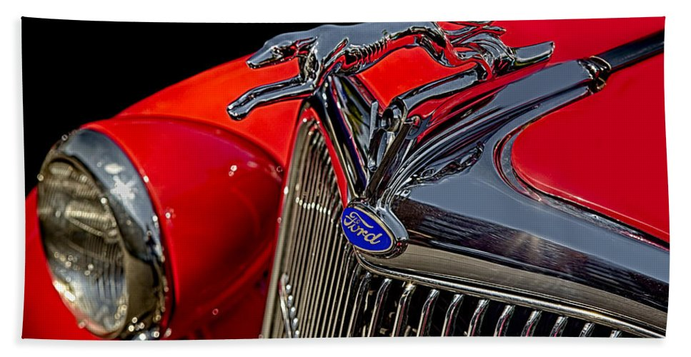 1936 Ford Car Beach Towel featuring the photograph 1936 Ford Model 48 Emblem by Susan Candelario
