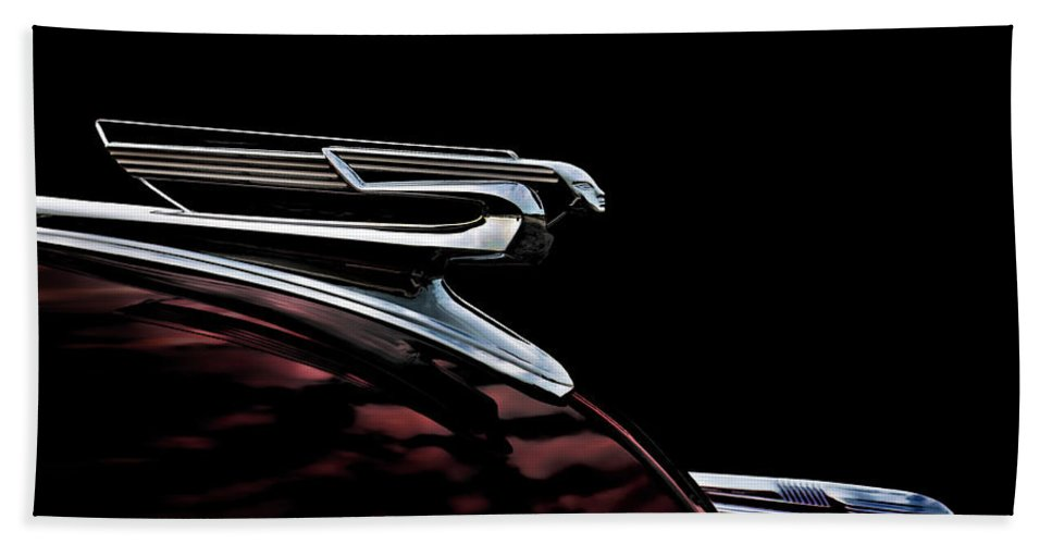 Vintage Beach Towel featuring the digital art 1940 Chevy Hood Ornament 1940 by Douglas Pittman
