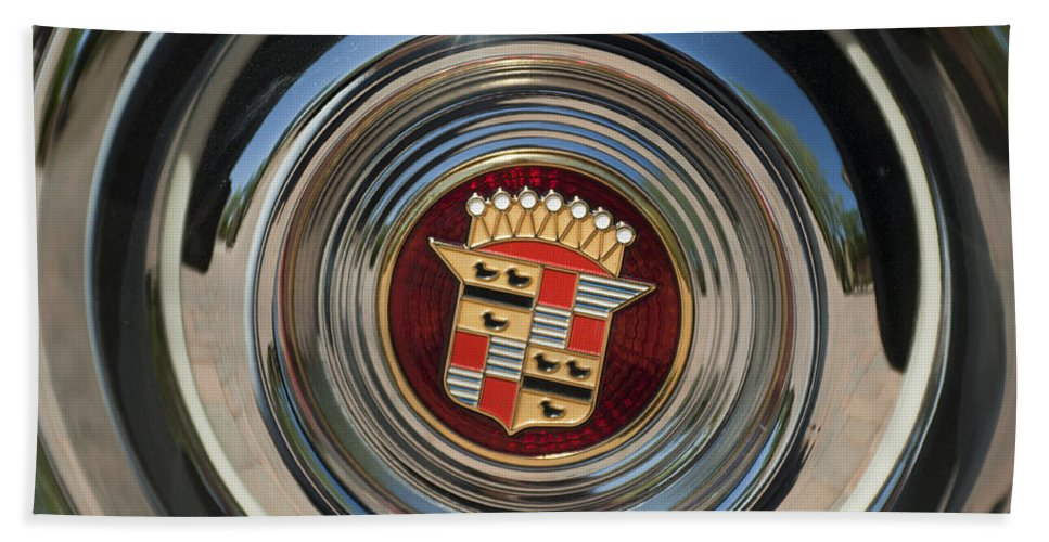 1947 Cadillac Beach Towel featuring the photograph 1947 Cadillac Emblem 2 by Jill Reger