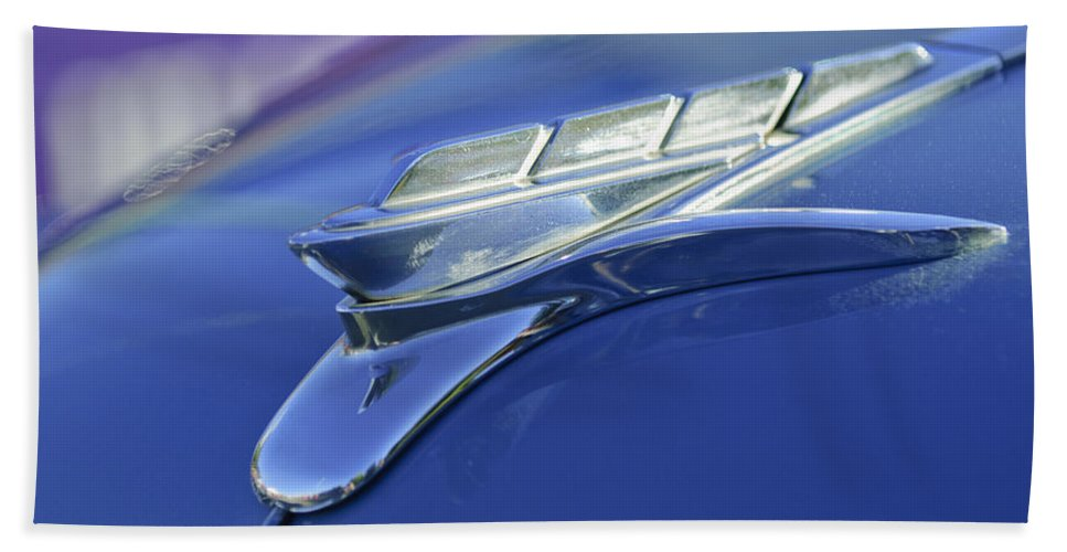 1951 Plymouth Beach Towel featuring the photograph 1951 Plymouth Hood Ornament by Jill Reger
