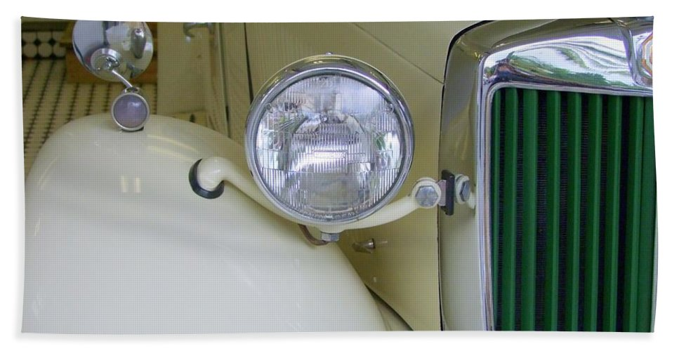 Mg Roadster Beach Towel featuring the photograph 1952 Mg Roadster Headlamp by Mary Deal