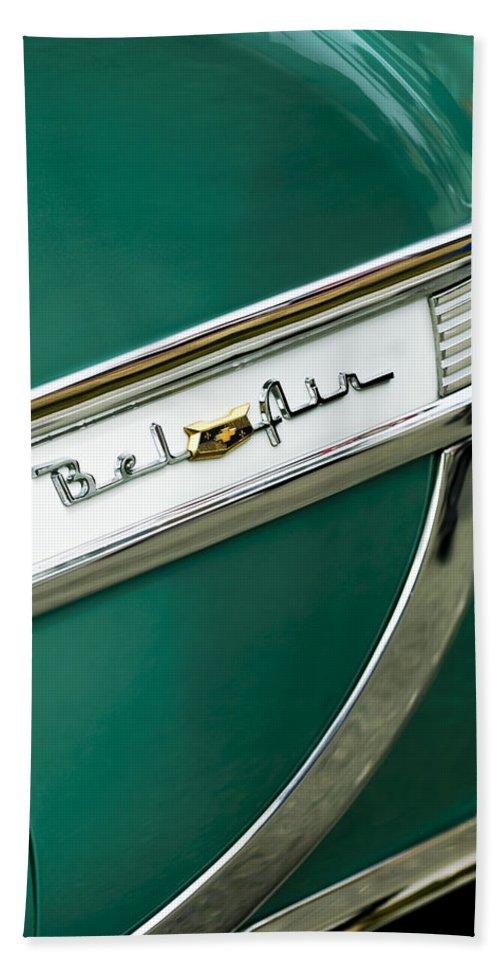 1953 Chevrolet Belair Beach Towel featuring the photograph 1953 Chevrolet Belair Side Emblem by Jill Reger