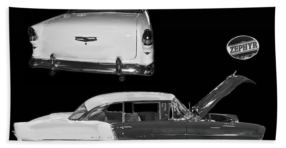 Gm General Motors Company Beach Towel featuring the photograph 1955 Chevy Bel Air 2 Door Hard Top by Tim Mulina