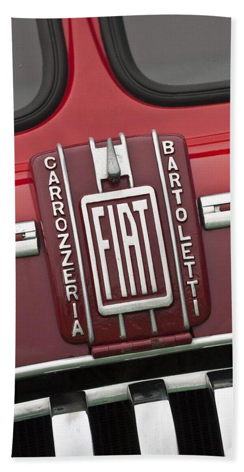 1959 Fiat Tipo 682 Rn-2 Transporter Beach Towel featuring the photograph 1959 Fiat Tipo 682 Rn-2 Transporter Emblem by Jill Reger