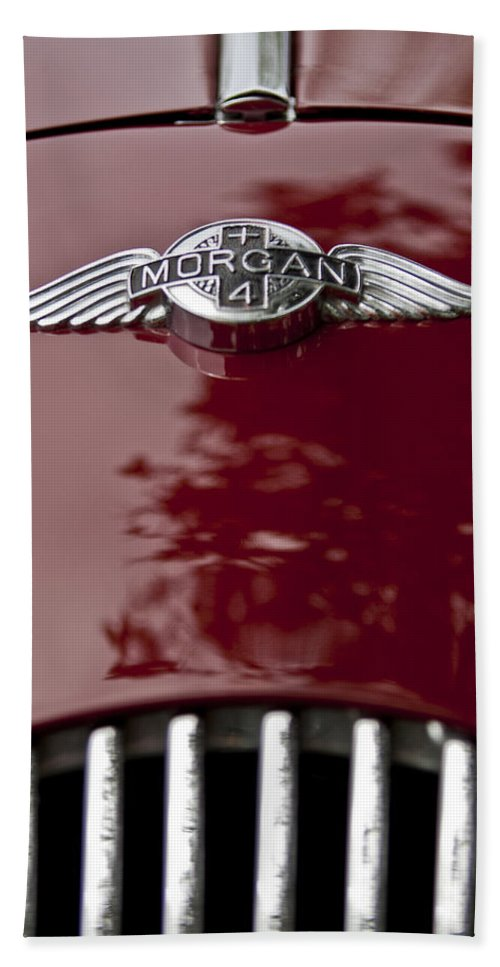 1960 Morgan Plus Four Drophead Coupe Beach Towel featuring the photograph 1960 Morgan Plus Four Drophead Coupe Hood Emblem by Jill Reger