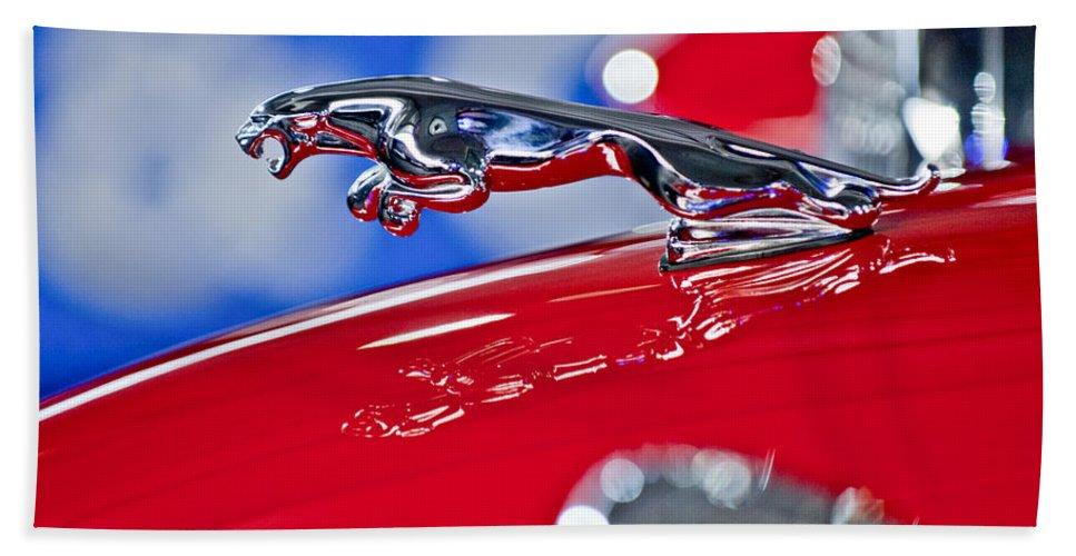 1961 Jaguar Kougar Beach Towel featuring the photograph 1961 Jaguar Kougar Hood Ornament 2 by Jill Reger