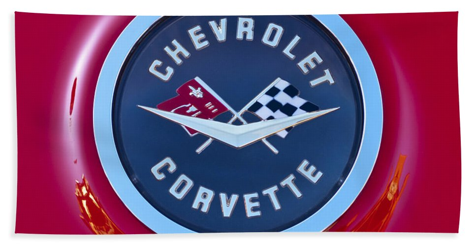 1962 Chevrolet Corvette Beach Towel featuring the photograph 1962 Chevrolet Corvette Emblem by Jill Reger
