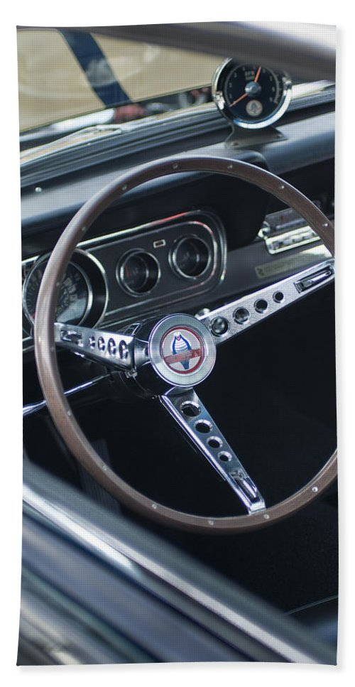 1966 Ford Mustang Cobra Beach Towel featuring the photograph 1966 Ford Mustang Cobra Steering Wheel by Jill Reger