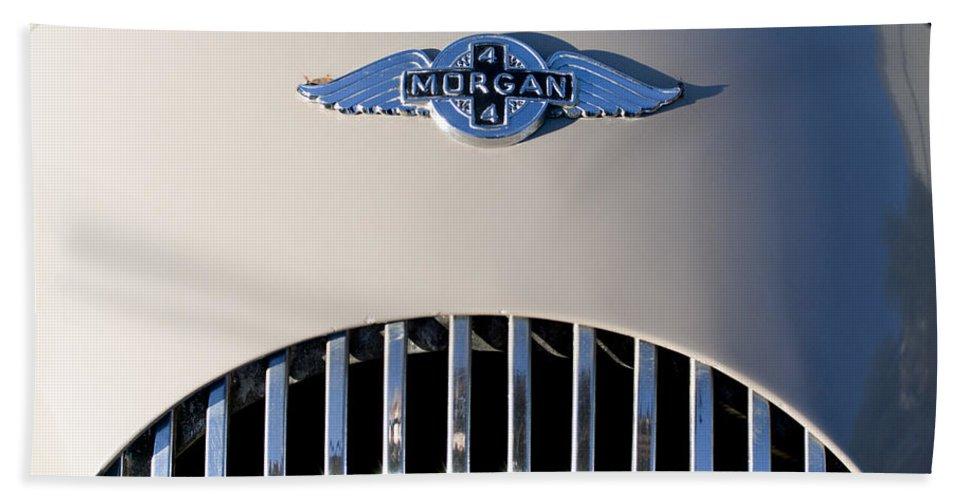1977 Morgan Plus 4 Beach Towel featuring the photograph 1977 Morgan Plus 4 Hood Emblem by Jill Reger
