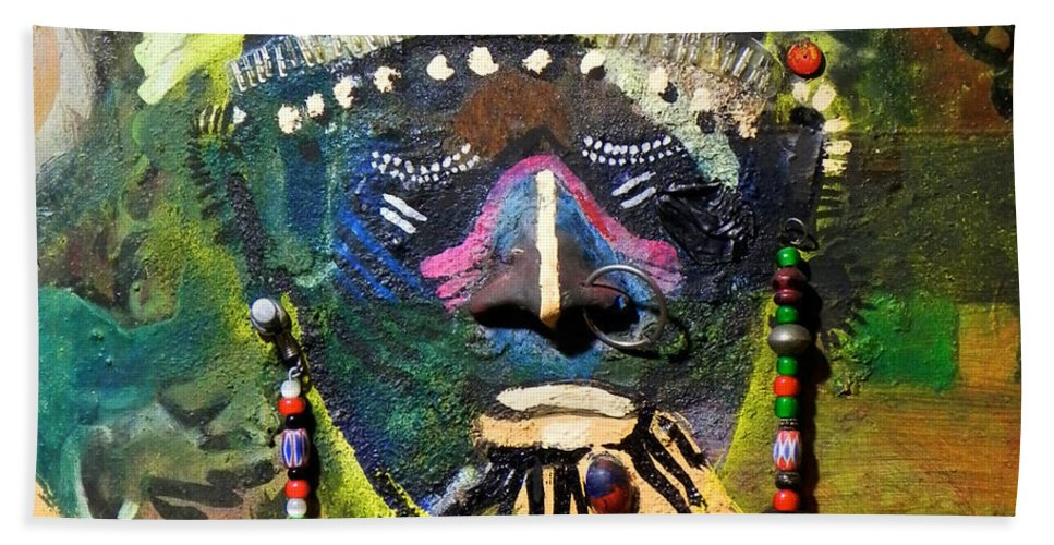 Painting Beach Towel featuring the painting African Bead Painting by Mohamed-saeed Omer