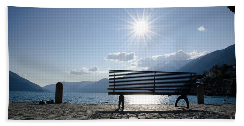 Bench Beach Towel featuring the photograph Bench In Backlight by Mats Silvan