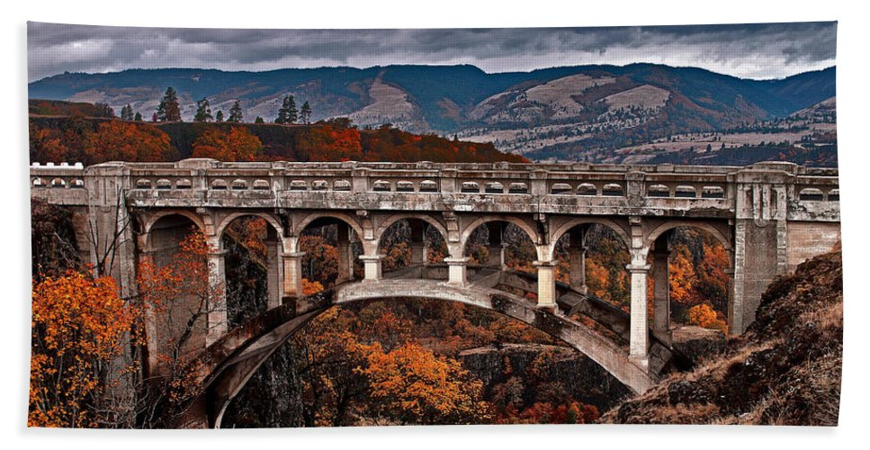 Bridge Beach Towel featuring the photograph Bridge Over Autumn by Merrill Beck