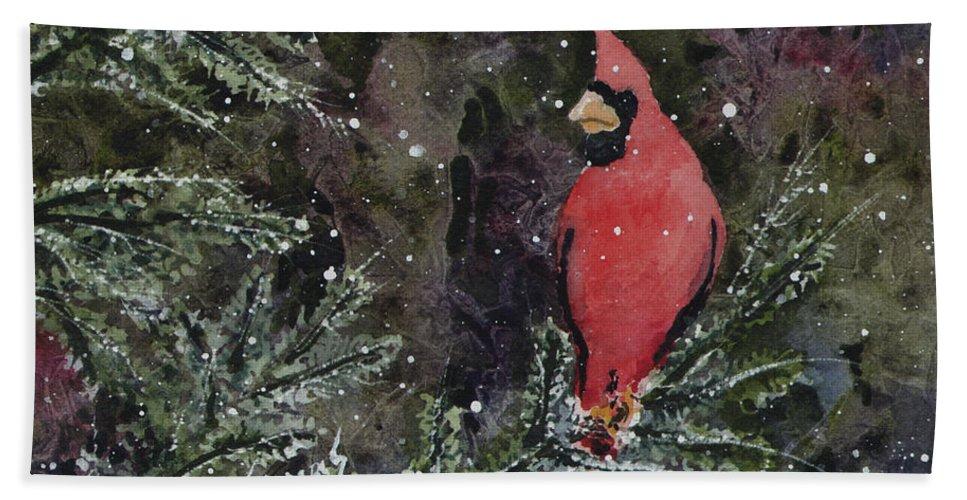 Cardinal Beach Towel featuring the painting Cardinal by Sam Sidders
