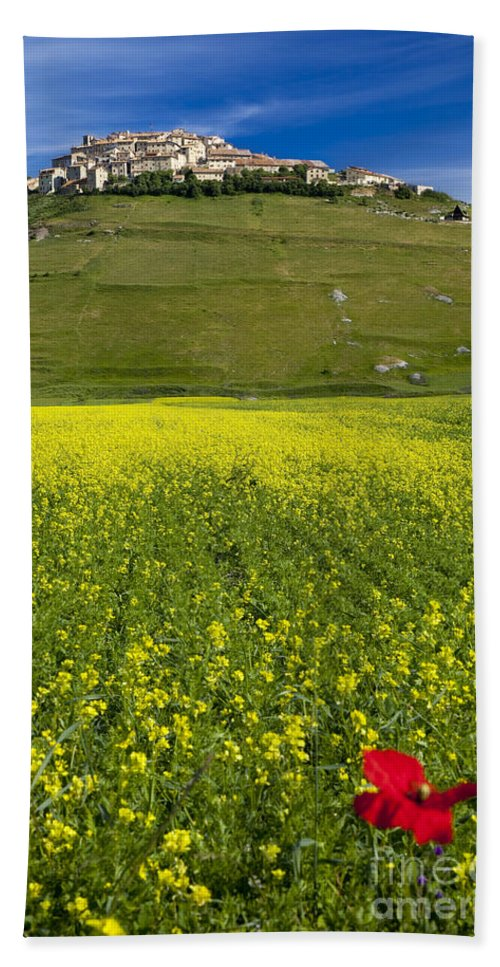 Yellow Beach Towel featuring the photograph Castelluccio Umbria by Brian Jannsen