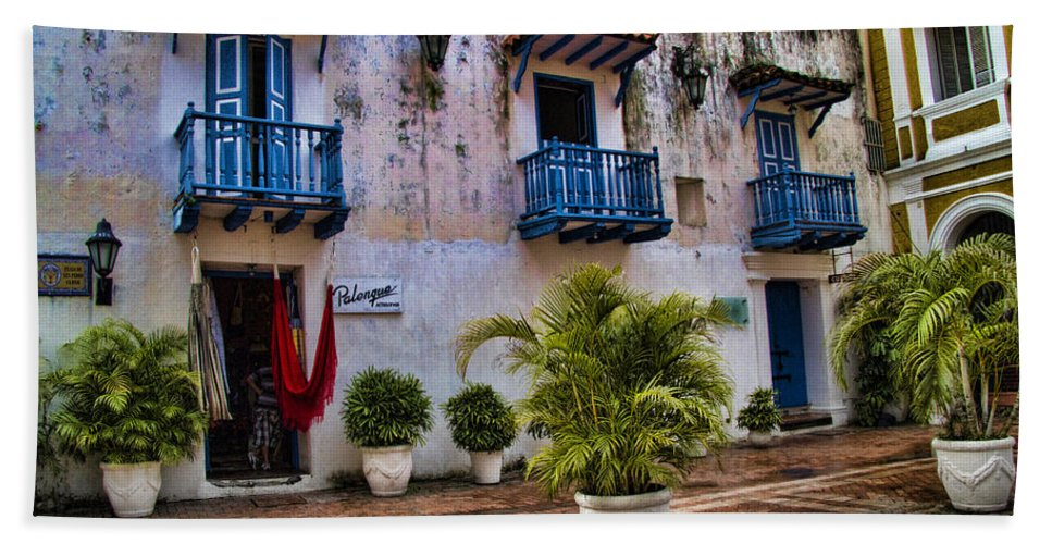 Cartagena Beach Towel featuring the photograph Colonial Buildings In Old Cartagena Colombia by David Smith