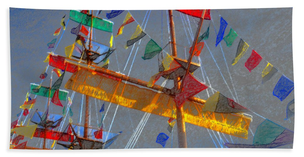 Art Beach Towel featuring the painting Flags Of Gasparilla by David Lee Thompson