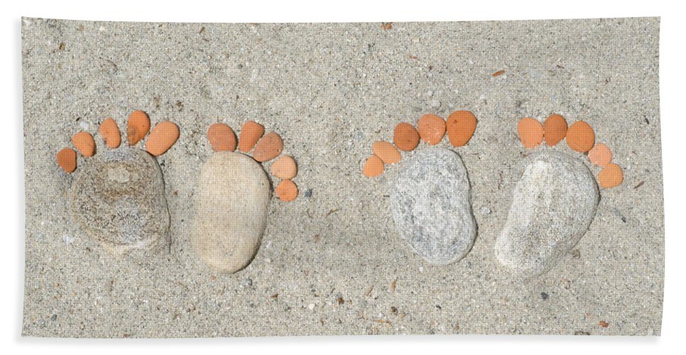 Footprints Beach Towel featuring the photograph Footprints by Mats Silvan