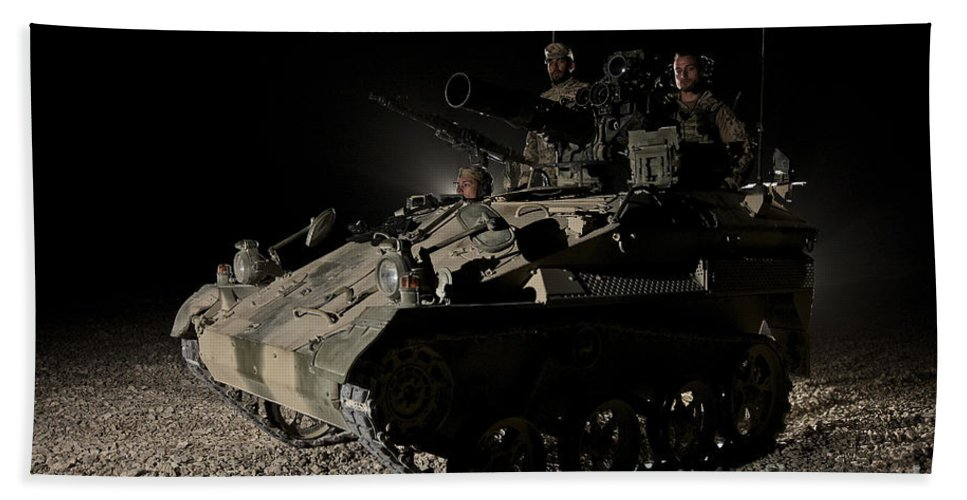 Vehicle Beach Towel featuring the photograph German Army Crew In A Wiesel 1 Atm Tow by Terry Moore