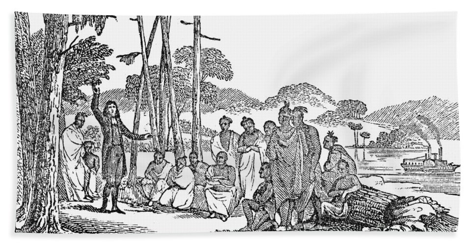 1850s Beach Towel featuring the photograph Missionary And Native Americans by Granger