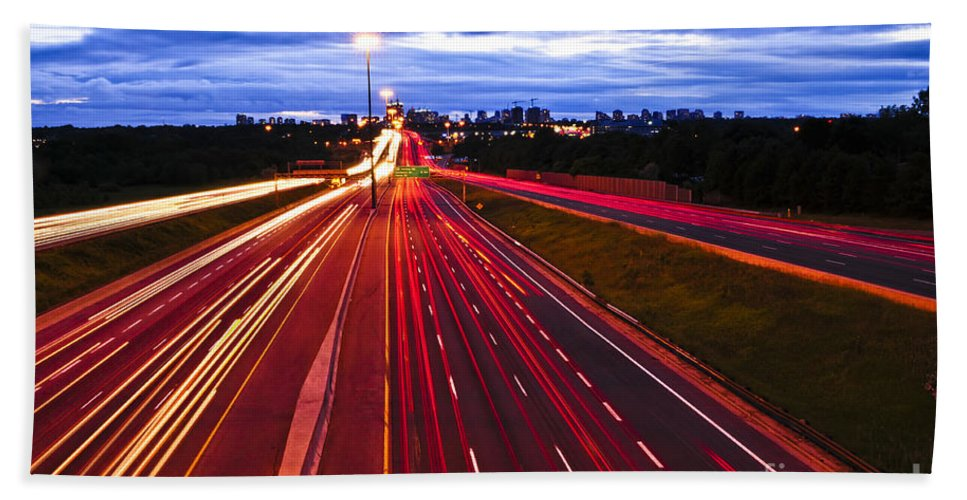 Traffic Beach Towel featuring the photograph Night Traffic by Elena Elisseeva