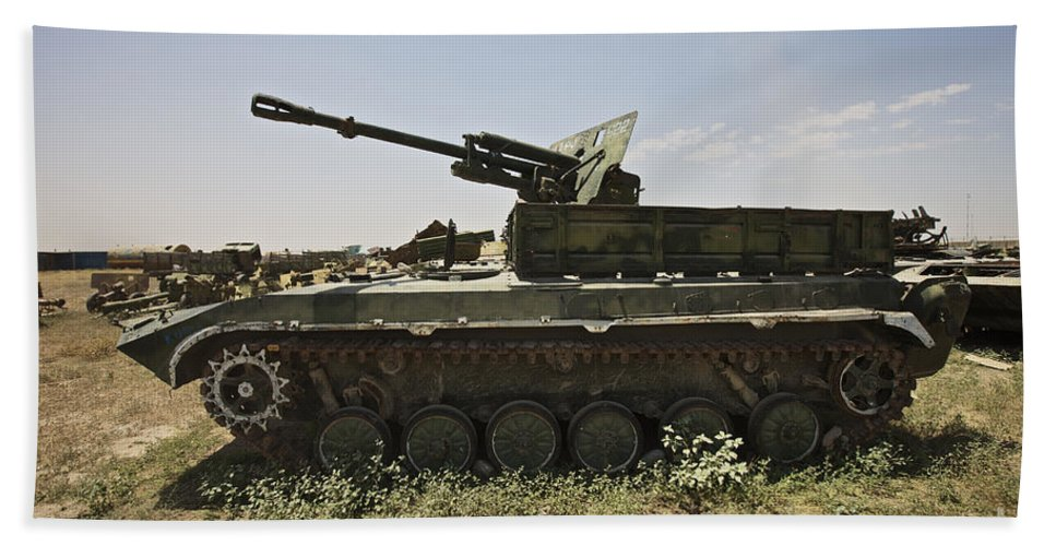 Army Beach Towel featuring the photograph Old Russian Bmp-1 Infantry Fighting by Terry Moore
