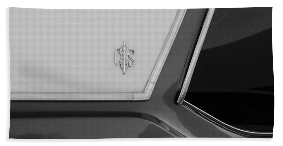 Oldsmobile Beach Towel featuring the photograph Olds C S In Black And White by Rob Hans