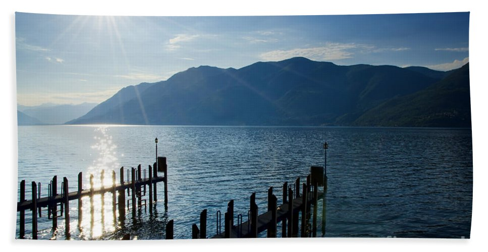 Pier Beach Towel featuring the photograph Pier In Backlight by Mats Silvan