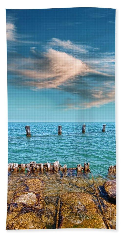 Pier Posts Beach Towel featuring the photograph Pier Posts by Jill Battaglia