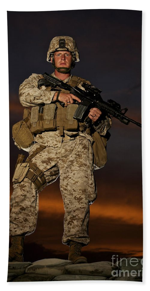 Afghanistan Beach Towel featuring the photograph Portrait Of A U.s. Marine In Uniform by Terry Moore