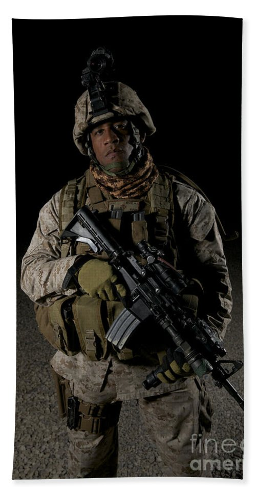 Operation Enduring Freedom Beach Towel featuring the photograph Portrait Of A U.s. Marine by Terry Moore