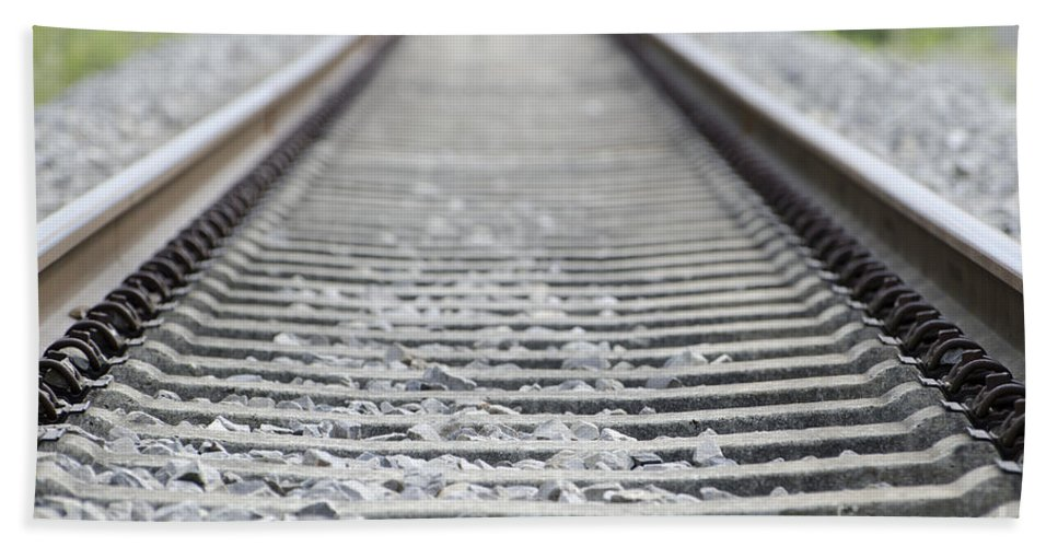 Railroad Tracks Beach Towel featuring the photograph Railroad Tracks by Mats Silvan