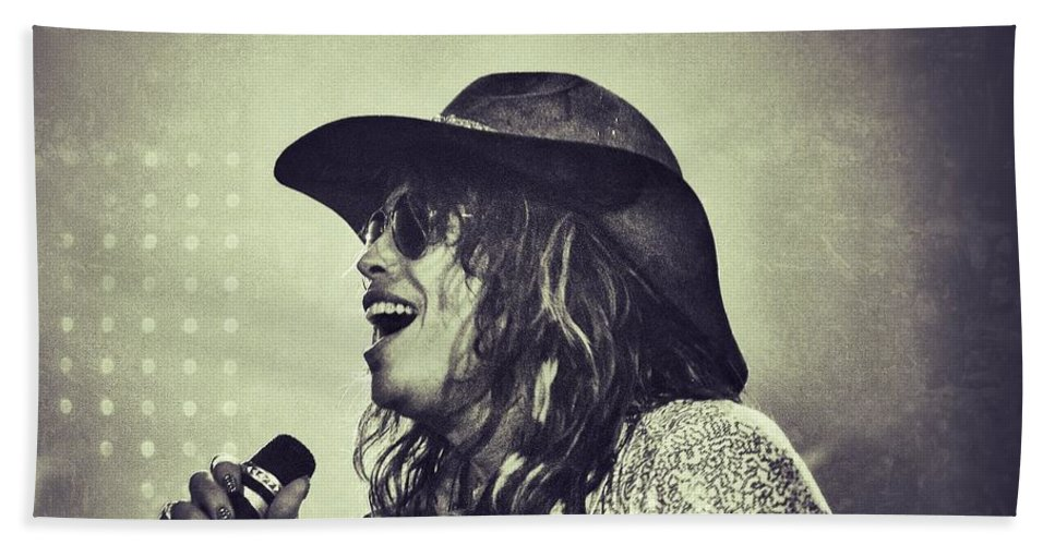 Steven Tyler Beach Towel featuring the photograph Steven Tyler by Traci Cottingham