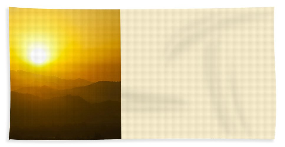 Sunrise Beach Towel featuring the photograph Sunset Behind Mountains by U Schade