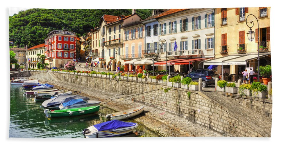 Village Beach Towel featuring the photograph Village On The Lake Front by Mats Silvan