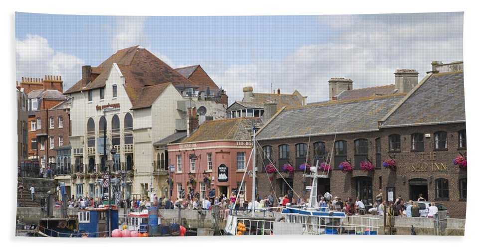 Weymouth Beach Towel featuring the photograph Weymouth Harbour by Ian Middleton