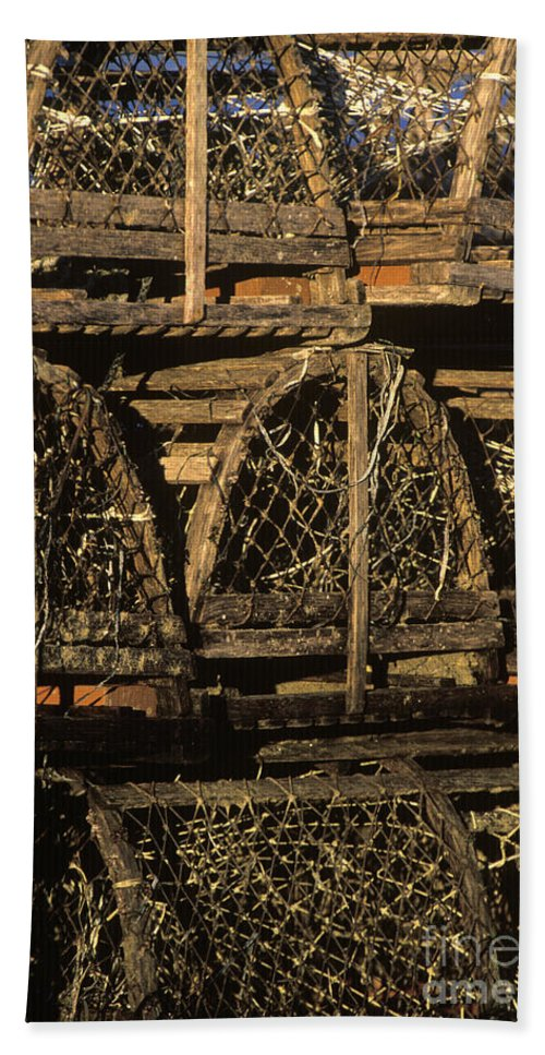 Cape Cod Beach Towel featuring the photograph Wooden Lobster Traps by John Greim