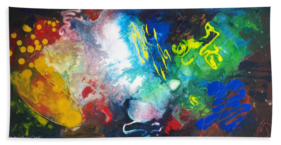 Light And Dark Beach Towel featuring the painting 2010 Untitled Series #11 by Sally Trace