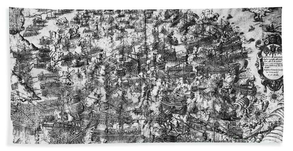 1571 Beach Towel featuring the photograph Battle Of Lepanto, 1571 by Granger