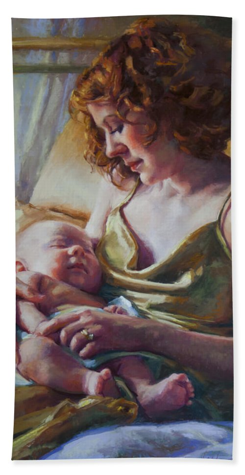 Maternal Beach Towel featuring the painting Devotion by Jean Hildebrant