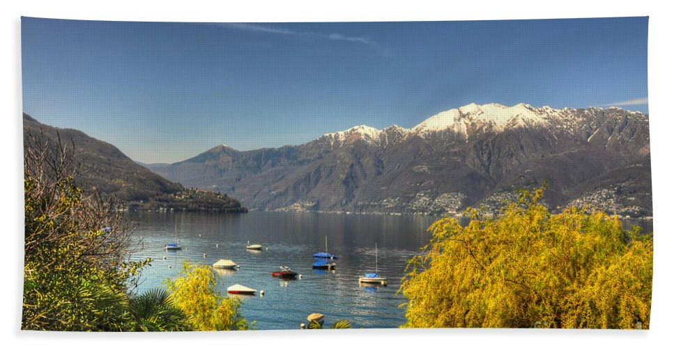 Lake Beach Towel featuring the photograph Lake With Snow-capped Mountain by Mats Silvan