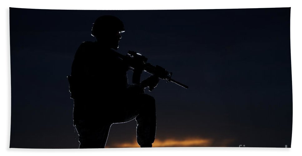 Outdoors Beach Towel featuring the photograph Partially Silhouetted U.s. Marine by Terry Moore